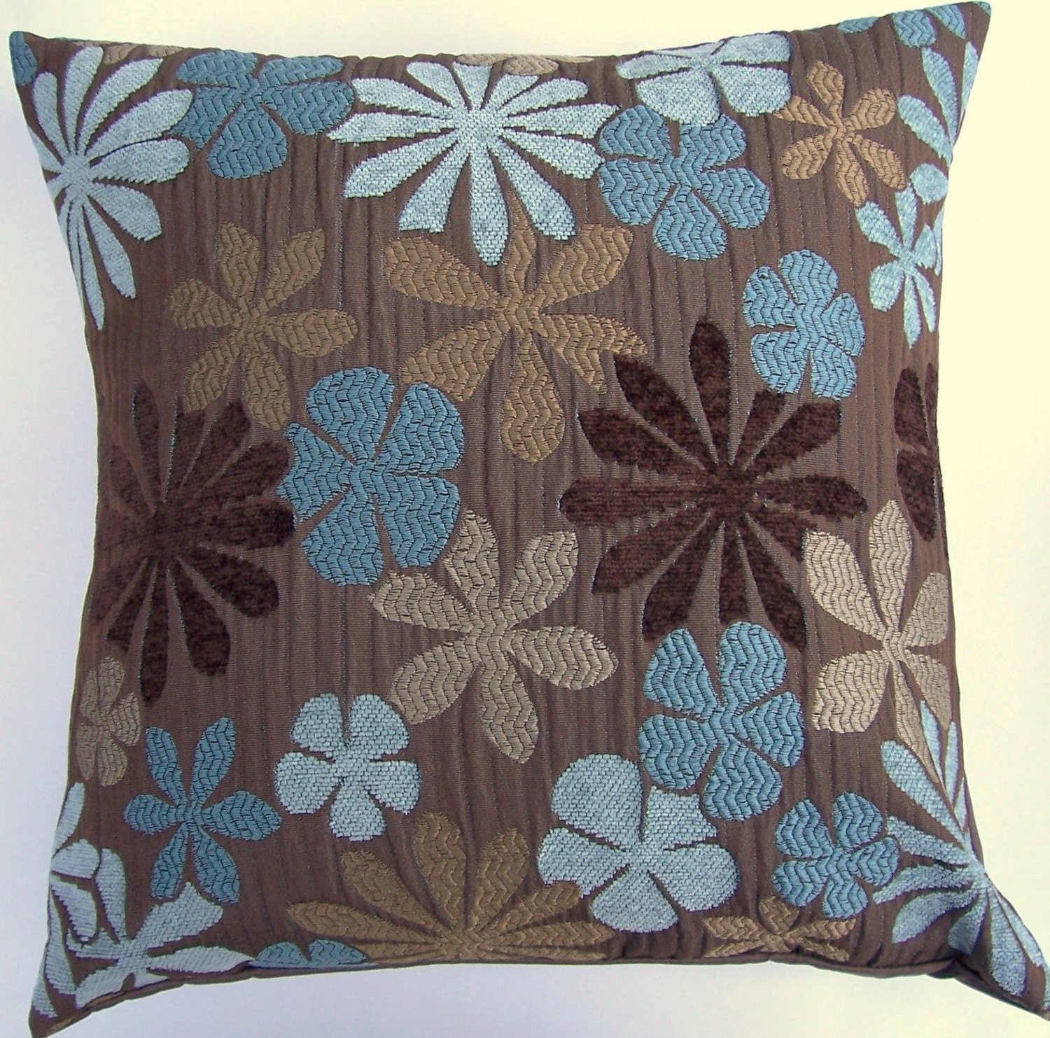 Brown Throw Pillow Cover With Turqouise Blue Aqua Amp Tan