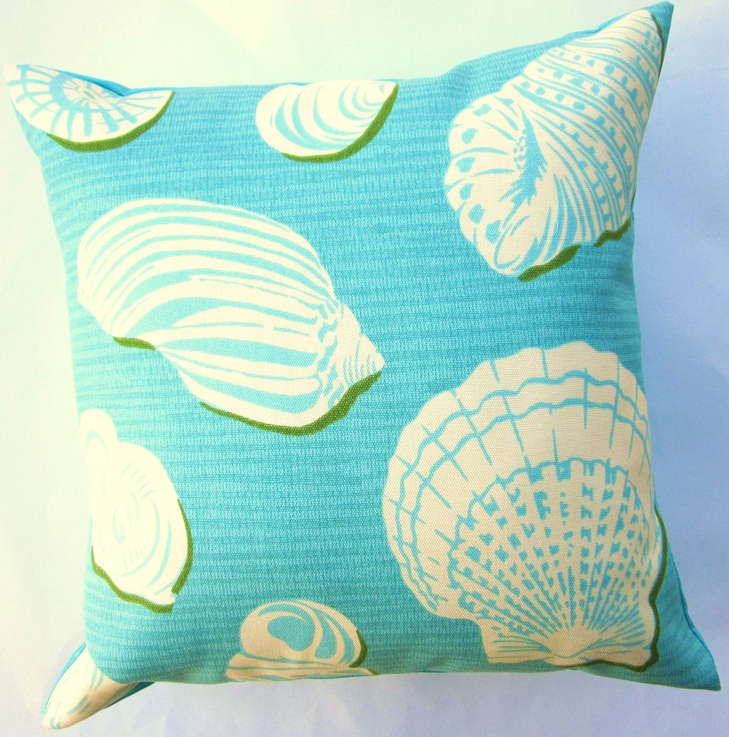 Turquoise Pillow Cover Turquoise and White Shells Throw