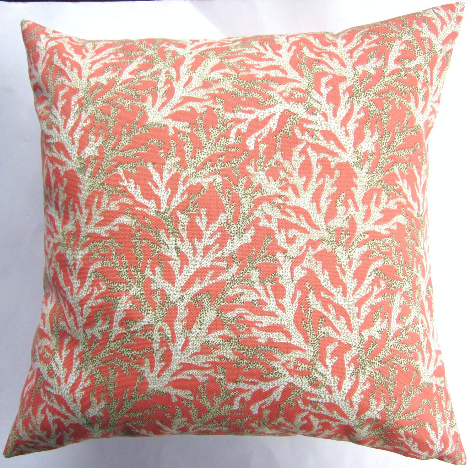 Throw Pillows With Coral : Coral Throw Pillow Cover Coral Reef Indoor by sassypillows