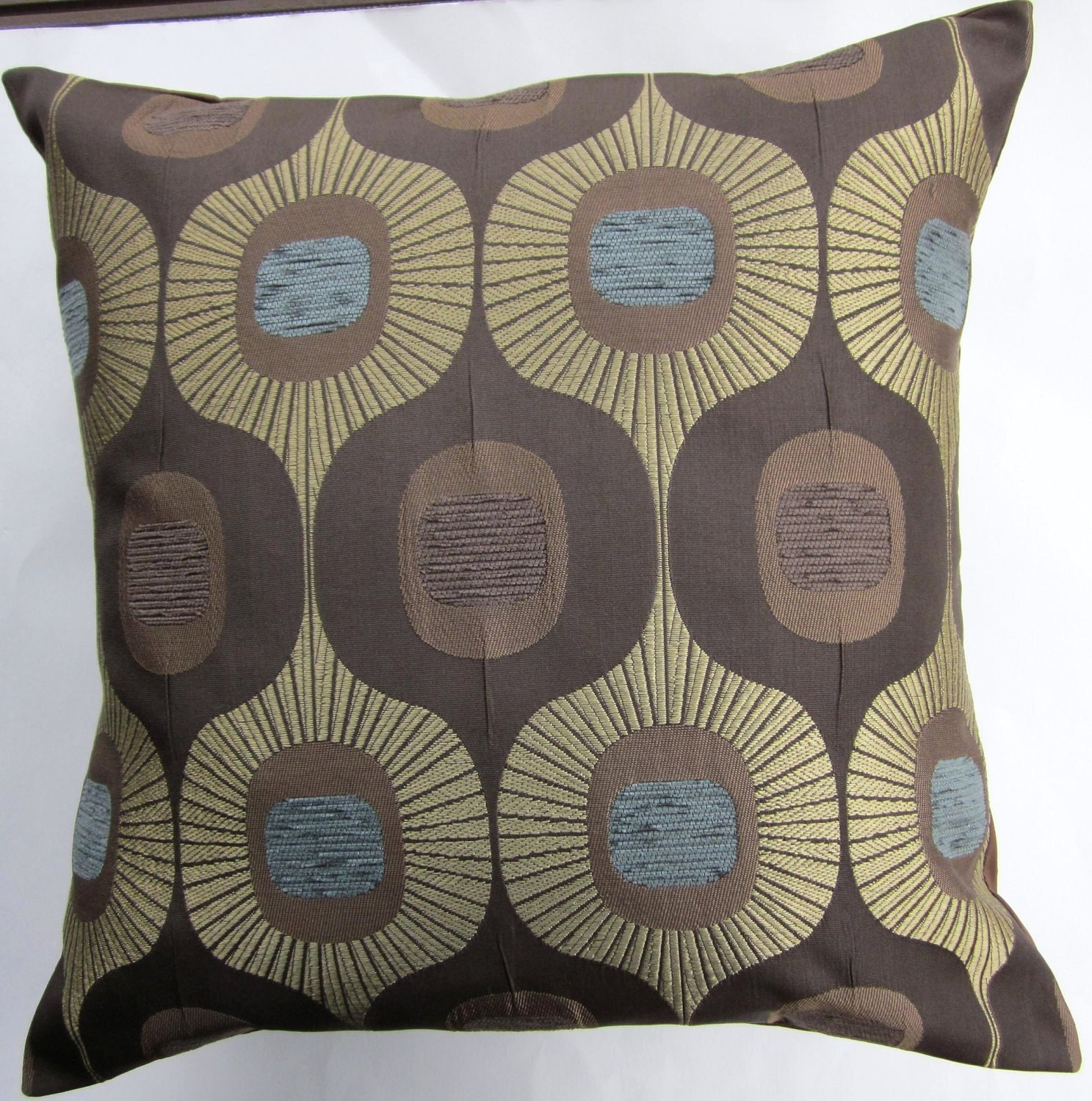Brown Throw Pillows Etsy : Brown Throw Pillow Cover Brown Cushion Cover with Gold and