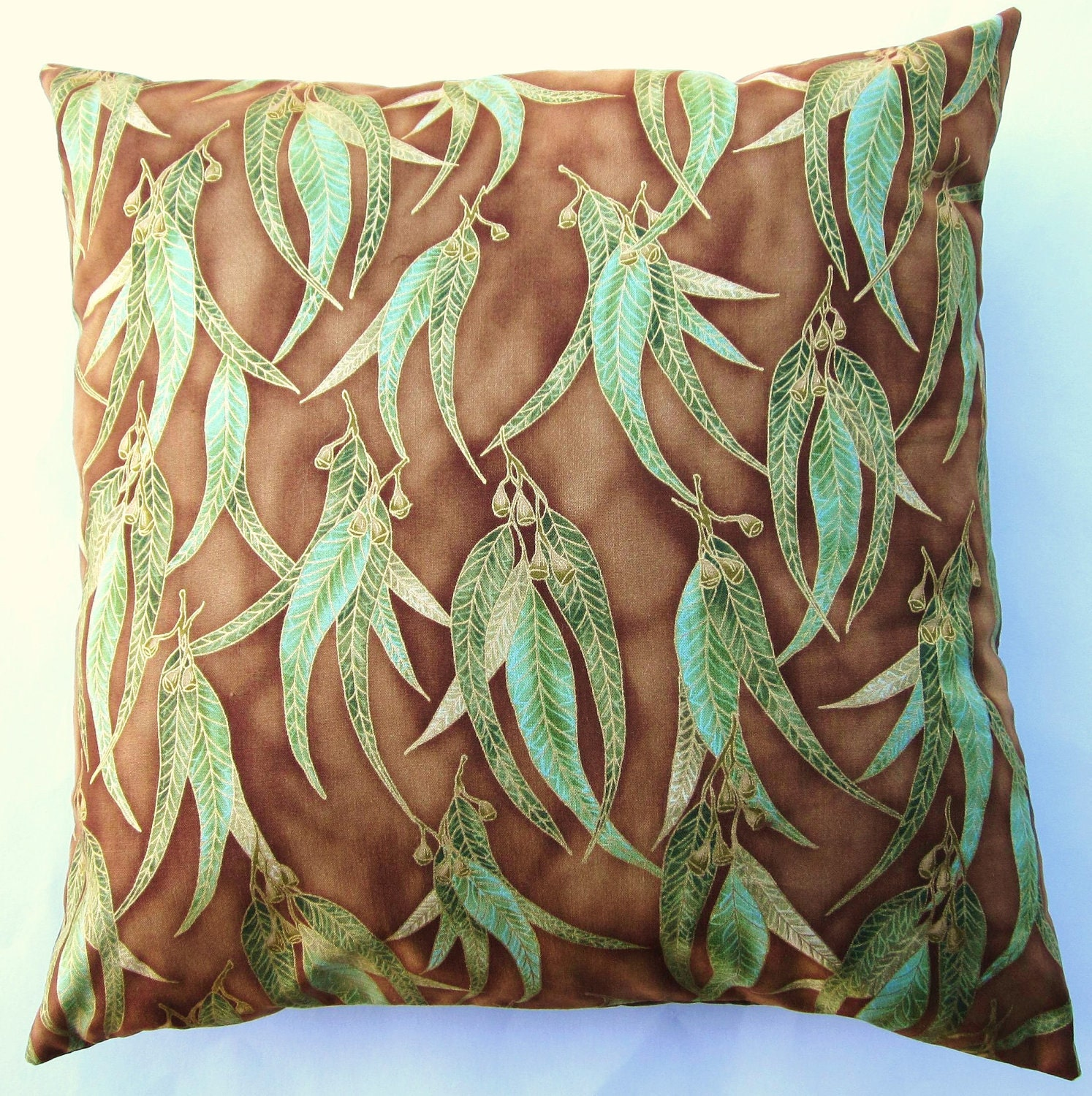 Brown and Green Throw Pillow Cover Brown Cushion Cover with