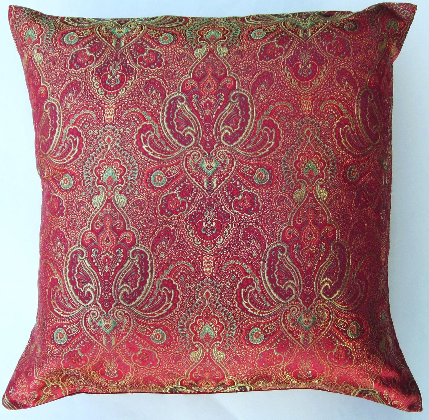 Throw Pillows Red And Gold : Red and Gold Throw Pillow Cover Satin Brocade Cushion Cover