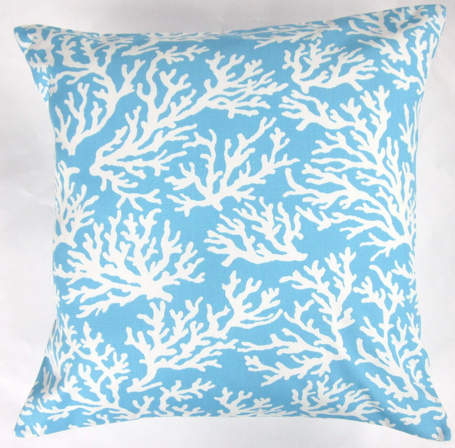 blue pillow cover light blue and white coral indoor outdoor. Black Bedroom Furniture Sets. Home Design Ideas