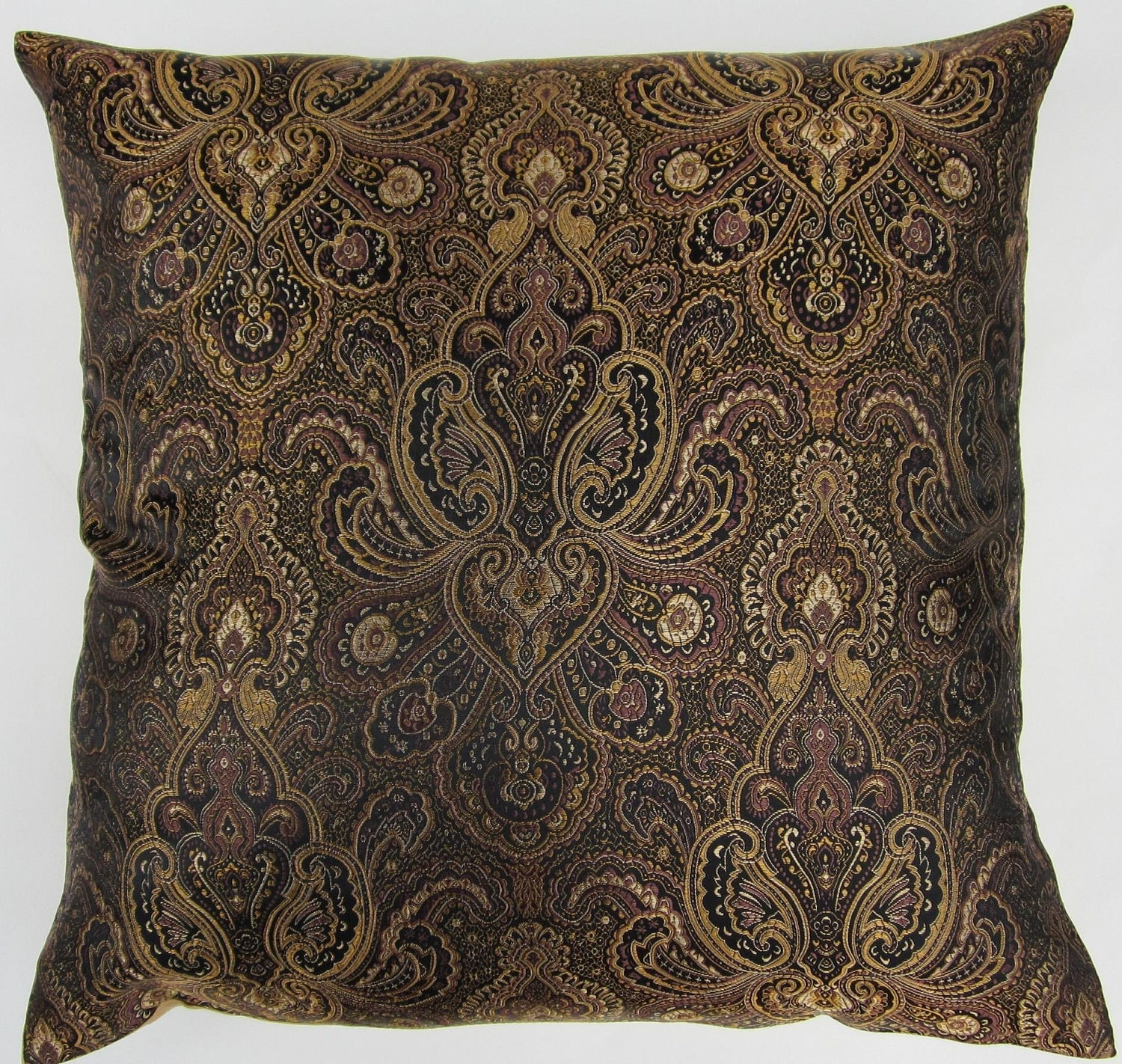 black and gold pillow cover black and gold satin brocade. Black Bedroom Furniture Sets. Home Design Ideas