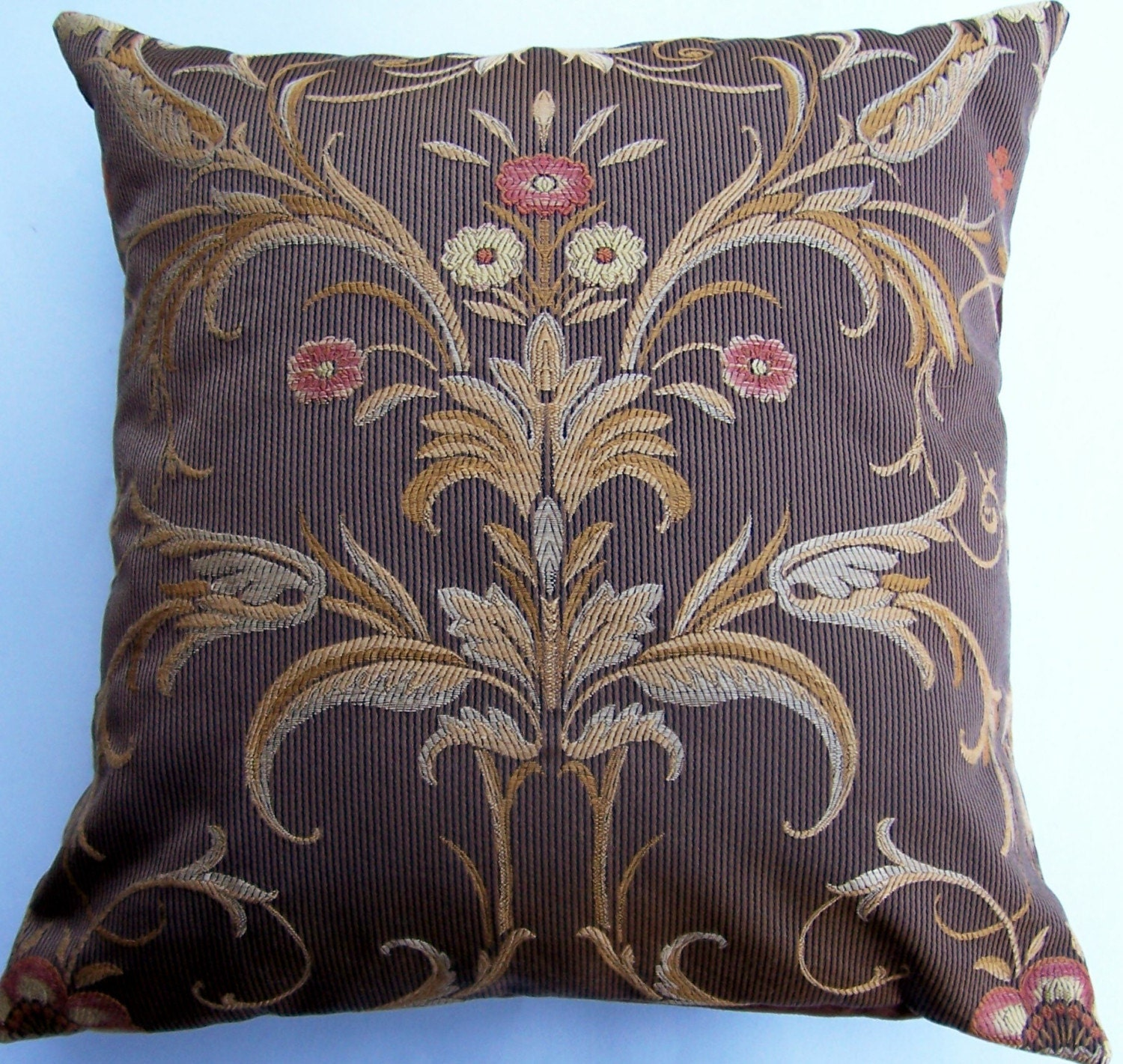 Brown and Rust Throw Pillow Cover Decorative by sassypillows