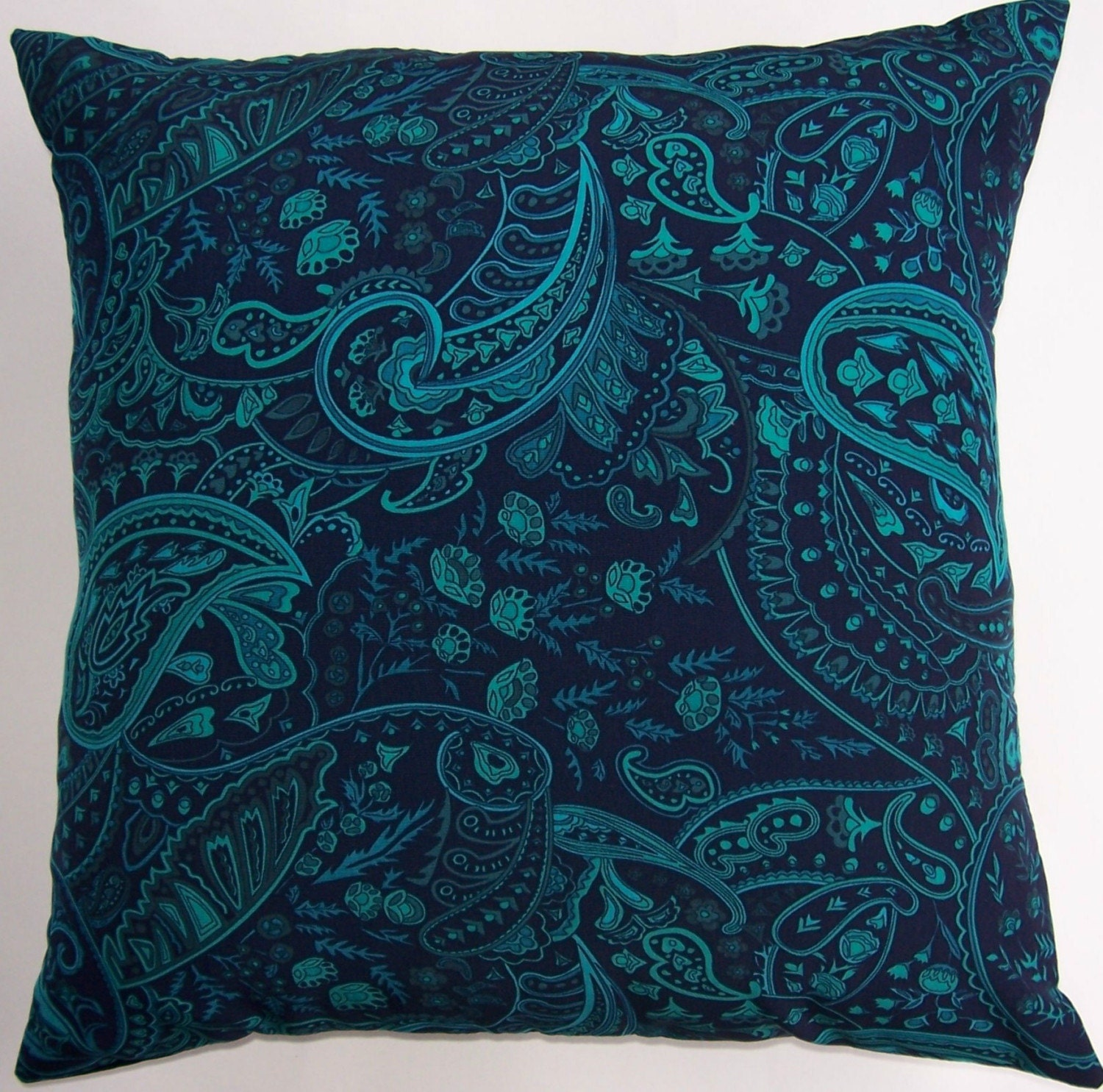Silky Soft Midnight Blue And Teal Paisley Pillow Cover