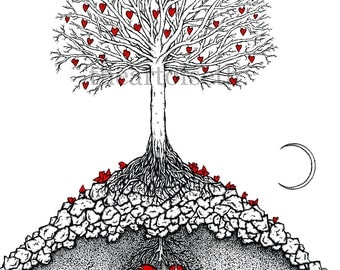 The Great Tree with moon - print of original heart drawing by seth