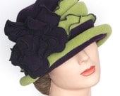 Cloche Flapper Hat, Purple Green Fleece, Giant Rose, Charlotte