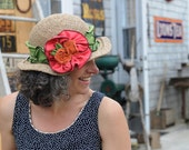 Seagrass Straw Hat - Organic Jersey Band and Flowers - Green, Pink