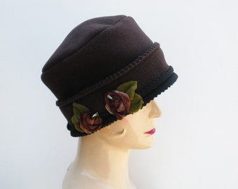 Cloche Tuque Hat - Chocolate Brown Fleece  - French Ribbon