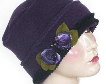 Polar Fleece Ladies Hat - Pillbox - Cloche - Purple - Sophie