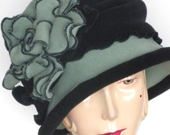 Fleece Flapper Cloche - Sage Green - Giant Rose - Charlotte