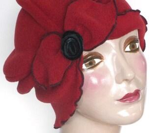 Flapper Turban Hat - Vintage Style - Twenties -Ladies Polar Fleece Hat - Matta Hari - Paprika