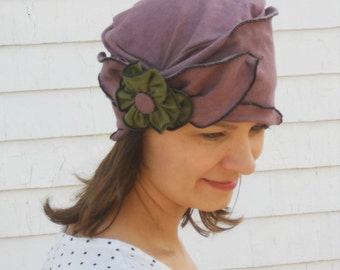 Organic  Brooke- Organic Cotton and Hemp Jersey- Turban- Dusty Purple