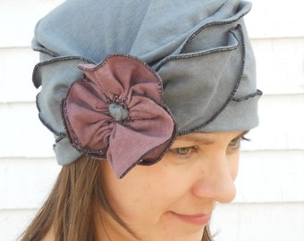 Flapper Turban Hat - Organic Cotton and hemp Jersey - Ladies Hat - Charcoal with Dusty Purple - Brooke
