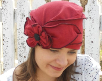 Flapper Turban Hat - Organic Fabric - Ladies Hat - Red with Pansy - Brooke