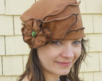 Organic Cotton and Hemp Jersey Turban, Summer Brooke, Brown