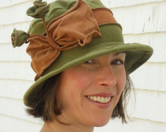 Women's Packable Hat - Organic Cotton and Hemp Jersey - Moss Green and Brown - Mary