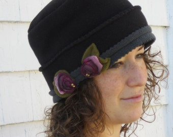 Rose Cloche Tuque Hat -Black Fleece- French Ribbon