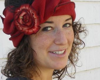 Flapper Polar Fleece Headband - Madeline- Paprika, Paprika French Ribbon Rose