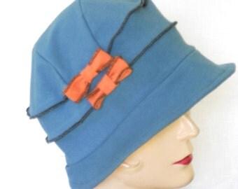Organic Cloche Hat - Ladies Flapper Style- Twenties Hat - Teal Blue, Orange Bows- Emma Rose