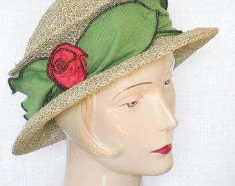 Straw Travel Hat - Seagrass - Organic Jersey Band - Avocado - Suitcase Sally