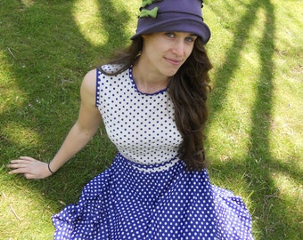 Organic Cloche Hat - Flapper Style - Travel Hat - Eggplant with Green Bows - Emma Rose