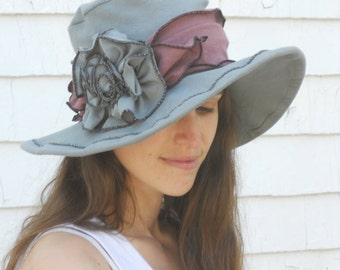 Organic Cotton and Hemp Stretch Jersey Suffragette Hat - Grey and Purple