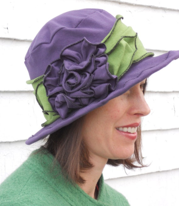 Sun Hat - Packable - Travel Hat - Organic Vintage Style Hat - Purple and Green - Suffragette