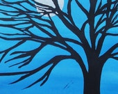 Silver Moon Linocut Twilight Blue 5x7 Original Art Tree