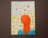 Pocketful of Daisies ACEO Everyday Goddess series collage original