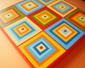 Original art canvas squares painting 8x8 Hip To Be Square Geometric Art