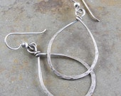 Organic Teardrop Sterling Silver Earrings