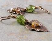 Olive Green Czech Glass Brass Leaf Earrings