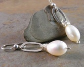 Fine Silver Freshwater Pearl Earrings