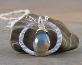 Fine Silver and Labradorite Gemstone Necklace