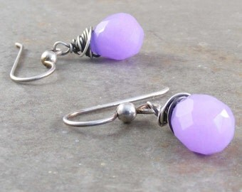 Lavender Chalcedony Oxidized Sterling Earrings
