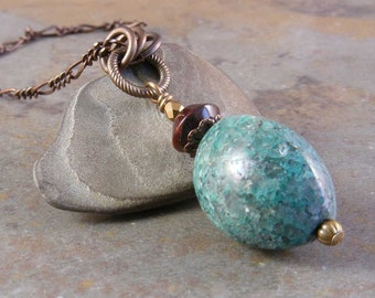 Chrysocolla Gemstone Brass Necklace