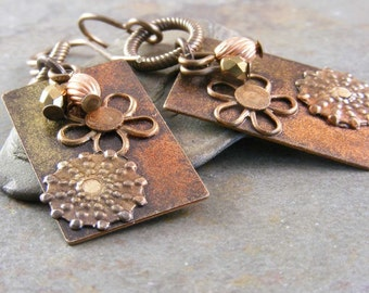 Riveted Brass Flower Earrings