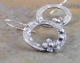 Sterling Silver Handcrafted Flower Metalwork Earrings