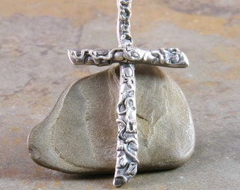 Handcrafted Sterling Silver Metalwork Cross Pendant