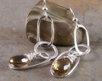 Fine Silver Whiskey Quartz Earrings
