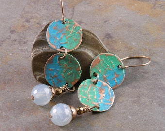 Patina Textured Copper Earrings