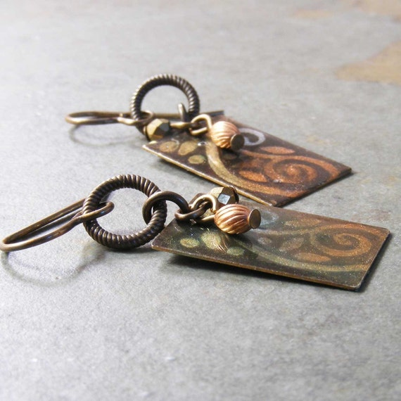 Hand Printed and Glazed Brass Earrings