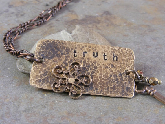 Hand Stamped Brass Truth Necklace