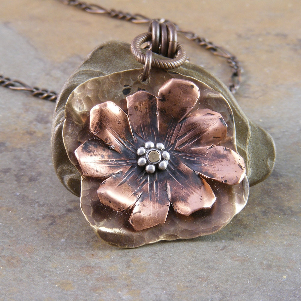 Hand forged copper and brass organic flower necklace