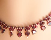 Gorgeous genuine garnet\/sterling silver choker and earring set