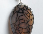 Inner Fire - White Dragon Veins Agate Pendant