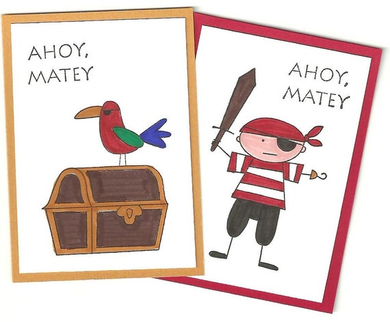 Childrens Pirate Valentines Day Cards