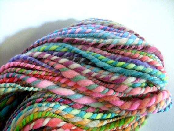 handspun wool yarn .. 105 meters, 115 yards, 2 ply bulky rainbow .. rainbow rolls 2